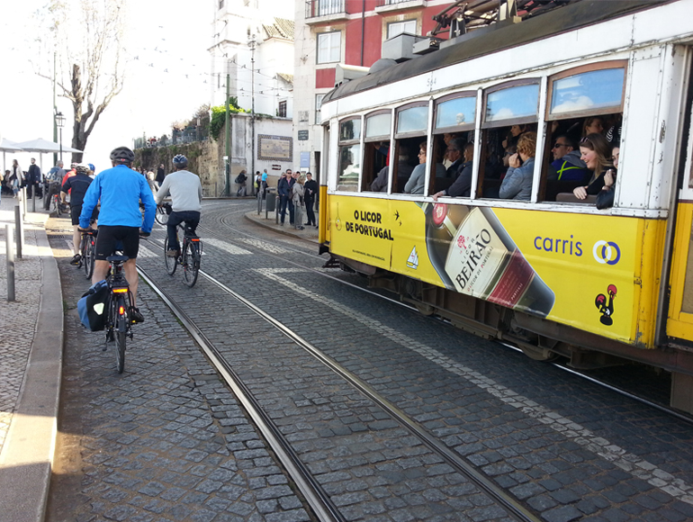 Tram Car sight in a Bike Tour, explore Cycling Holidays in Portugal | MegaSport Travel