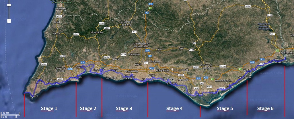 Map of stages of Cycling in Algarve Coast Line in Biking Holidays Europe | MegaSport Travel