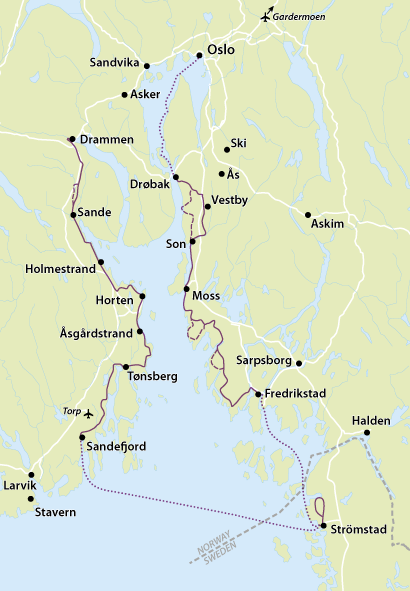 Norway map for bike tours in Oslo | MegaSport Travel